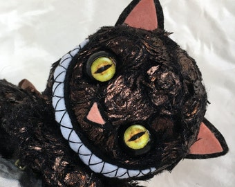 """10"""" unique creepy cute metallic swirl bronze kitty cat doll moving eyes zipper tummy with heart baby by Karen Knapp of Tindle Bears"""