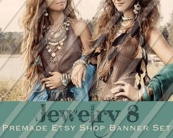 """Etsy Shop Banner Set - Graphic Banners - Branding Set - """"Jewelry 8"""""""