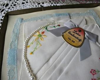 Vintage! Hankies. with vintage necklace. Two pairs of handmade earrings. In box. Hankerchiefs. Ladies.