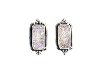 DRUSY CRYSTAL EARRINGS Sterling Silver and Pink Posts Studs New World Gems