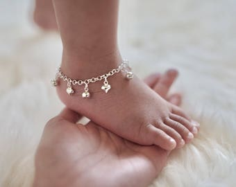 Jingle Bells & Hearts Anklet || Baby Anklet || Boho Baby Jewelry || Sterling Silver || Baby Anklet with Bells || Danita Apple