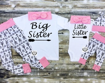 Big Sister Little Sister Outfits, Baby Girl Coming Home Outfit Set,Arrow Outfits,Pink and Black Arrows,Sister,Arrows,Baby Girl
