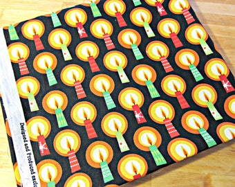 Fabric Destash, Christmas Fabric, Quilting Fabric, Cotton Fabric, Candle Fabric, Candle Print, Modern Fabric, Black Fabric
