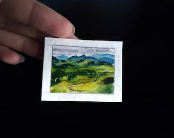 Tiny original watercolor painting, fields, green, original miniature painting, landscape aquarelle, mini art cute green fields tiny gift