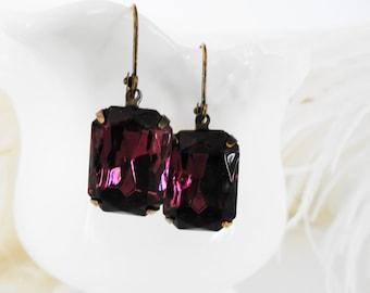 FREE SHIPPING Estate Amethyst Earrings Bridal Rhinestones Purple Old Hollywood Glass Vintage Amethyst Jewel Earrings