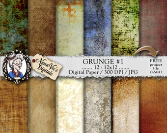 Grunge Digital Paper, vintage distressed, backgrounds, grunge texture, Scrapbooking, Printable, photography, grunge back drops, 12 x 300 DPI