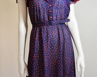 Blue and red polka dot dress with belt