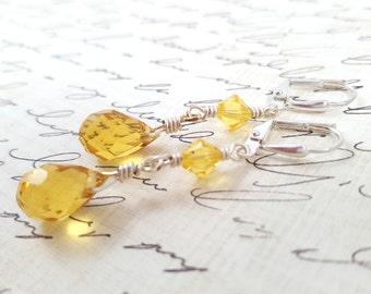 Light Yellow Crystal Earrings - Glass Crystal Earrings - Yellow Dangle Earrings - Faceted Glass Teardrop Earrings