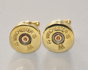Vintage Winchester AA 12 Gauge Shotgun Shell  Bullet Cufflinks Custom Made in the USA