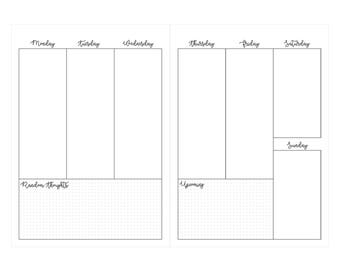 B6 Week on two pages insert printable