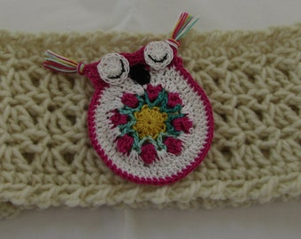 Ear Warmer Head Band Cream w/Owl Pin Darker Pink Tulips Trim
