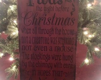 Primitive Twas the night before Christmas wood sign