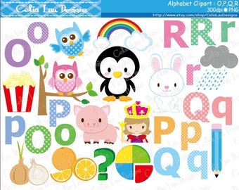 Alphabet clipart : O,P,Q,R / Back to School clip art / INSTANT DOWNLOAD (CG172)