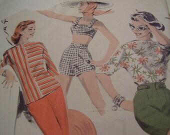 SALE Vintage 1950's Butterick 7762 5 Piece Sport Outfit Size 12, Bust 30