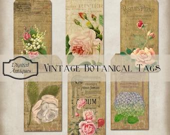 Tags botanique Vintage Collage feuille téléchargement numérique