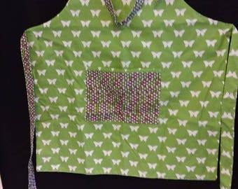 Reversible apron - green with white butterflies