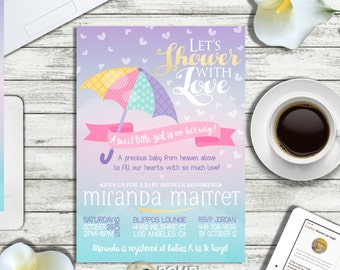 PRINTABLE or PRINTED    Let's Shower with love Baby shower invitation   Optional backside   Optional Raffle tickets   Any wording!