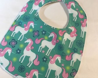 Spring Sale Unicorns - Infant or Toddler Bib - Terry Cloth Backing - Reversible with ADJUSTABLE Snaps