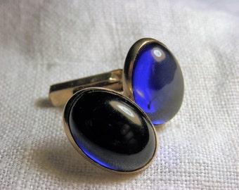 Vintage SWANK  Cuff Links/Shirt Studs BLUE Glass Men's Gift