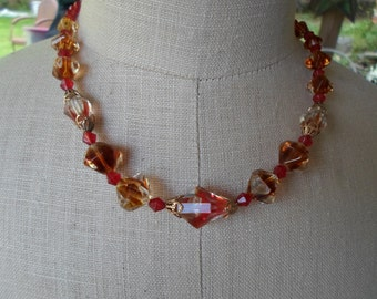 Vintage Orange Red Brown Gold Tone Glass Necklace Adjustable 1950s to 1960s