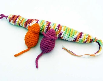 Kitty Catnip Snake with Two Mice Cat Toys - Choose Your Colors