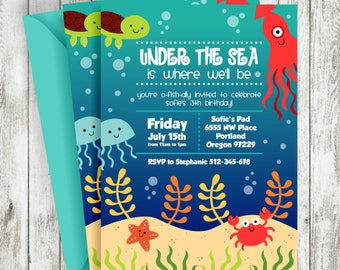 Under the Sea Birthday Invitation, Turtle, Octopus, Crab, Ocean Birthday Invitation, PRINTABLE INVITATION