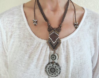 Long micro-macrame necklace, Golem beads, Boho, brown, rustic