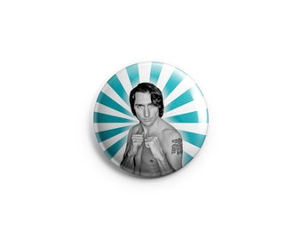 Justin Trudeau button or magnet, Trudeau pin, Justin badge, Canadiana stocking stuffer, Canadian politics, famous Canadians, prime minister