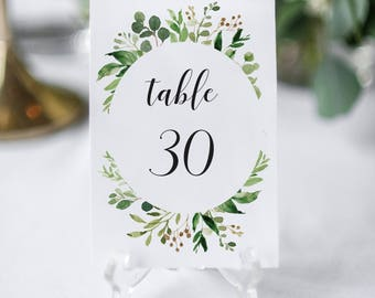 Eucalyptus Table Numbers Greenery Table Numbers Template
