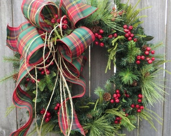 Christmas Wreath, Plaid Christmas Wreath, Winter Wreath, Country Wreath, Twine and Berries Christmas Wreath