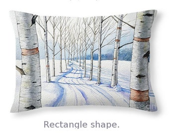 Throw Pillow, Birch Trees along the Curvy Road, size of 14x14 to 26x26 inches Fine Art Painting by Christopher Shellhammer