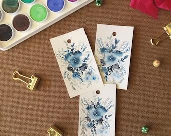 Handmade Gift Tags, Watercolor Gift Tags, Watercolor Floral, Watercolor Flowers, Swing Tags, Hand painted Tags, Original Hand painted Tags