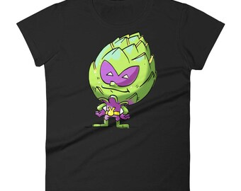 Artichoke Alien / Foodietoon / Veggie Superheroes / Artichoke / Hello I am a Vegan / Women's Short Sleeve T-Shirt
