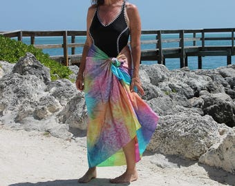 Tropical Rainbow ... hand painted silk sarong