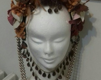 Headdress flowers artificial Brown and beige tones