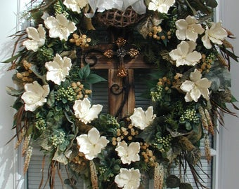 Easter Front Door Wreath Spring Summer Decoration Wood Cross
