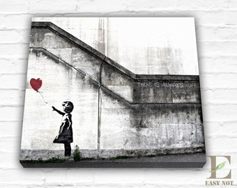 Banksy Art Print There Will Always Be Hope Reproduction Print Gallery Wrapped Canvas, Canvas Art Print Banksy Canvas