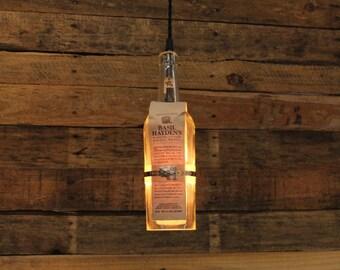 Basil Hayden Bourbon Pendant Light - Upcycled Industrial Glass Ceiling Light - Handmade Bourbon Bottle Light Fixture, Restaurant Lighting