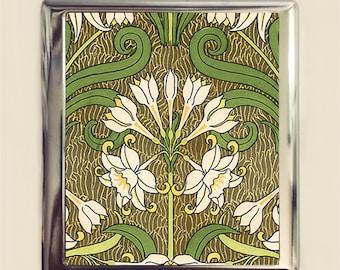 Art Nouveau Flower Cigarette Case Business Card ID Holder Floral Flowers Deco Design Two