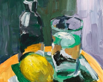 "Still life, acrylic painting on 10x8"" gessobord fine art, modern impressionist, christine parker, wall candy, modern art"