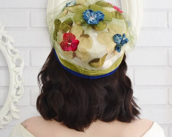 Vintage 1960s Hat with Velvet Berries and Flowers and Green Netting Union-Made