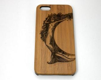 Mermaid iPhone 8 Case. Bamboo Wood Cover. Mythology Ocean Goddess Water Swim Atlantis Sea Siren Merpeople Fantasy SciFi. iMakeTheCase Brand