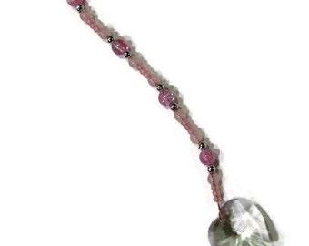 Love HEART Crystal Sun Catcher Ornament 30mm Pink Beads Rainbows Feng Shui