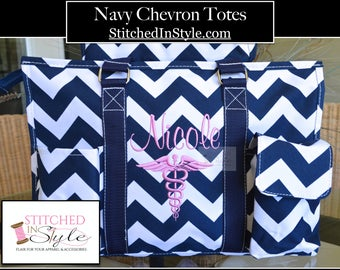 Navy Chevron Personalized Organizing Utility Work Tote Everyday Bag Custom Monograms Available