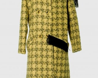 1960's Houndstooth Wool Coat with Scarf-Collar/ Free U. S. Shipping