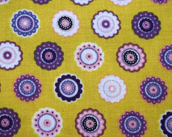 Mustard fabric, Quilting Fabric, makower fabric, rosette fabric, mandala fabric, cotton fabric, fabric by the metre, yellow fabric, quilts