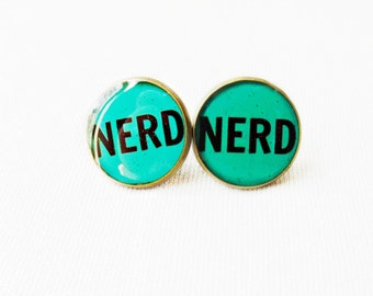 Nerd Stud Earrings - Teal Pop Culture Jewelry