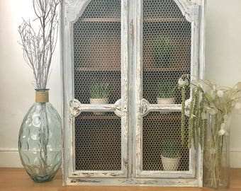Vintage distressed wood chicken wire cabinet hutch dining room living room  storage