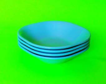 Melamine Teal Aqua Turquoise Blue Melmac Rainboware RPL Canada Serving Side Dish Bowl - Set of Four