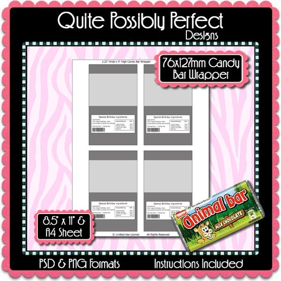Candy Bar Wrapper Template Instant Download PSD and PNG Formats ...